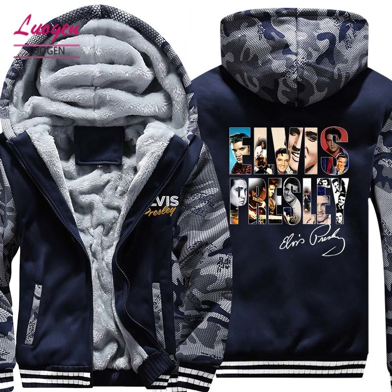 USA SIZE Elvis Presley Printed Men's Hoodies Sweatshirts Winter Thicken FleeceHoody Coats Men Camouflage Jackets Casual Style
