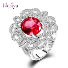 Luxury Silver 925 Jewelry Ring 9x11MM Red Ruby Gemstone Wedding Rings With AAAA Cubic Zirconia Top Quality Wholesale Jewelry