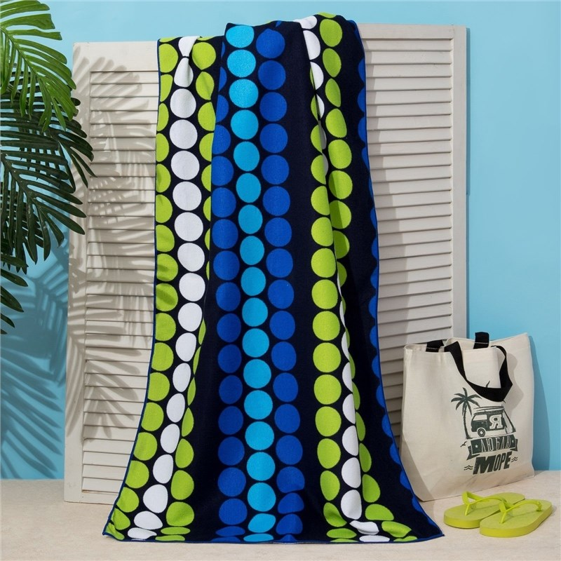 Фото - Towel beach Ethel 70*140 cm, Circles on black, microfiber 250гр/m2 3936320 lx 9001 microfiber hair drying towel hat shower cap white