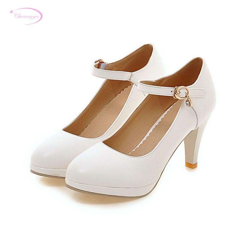 Очаровательные удобные туфли лодочки с круглым носком; Модные туфли на платформе с ремешком и пряжкой; Цвет бежевый, розовый, белый, черный; Женская обувь на высоком каблуке|round toe pumps|fashion women shoeswomen fashion shoes | АлиЭкспресс