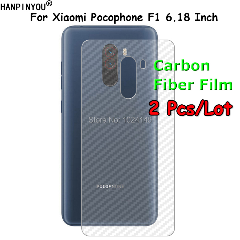 2 Pcs/Lot Back Film For Xiaomi <font><b>Pocophone</b></font> <font><b>F1</b></font> 3D Transparent Carbon Fiber Back <font><b>Sticker</b></font> Rear Screen Protector (Not Tempered Glass) image