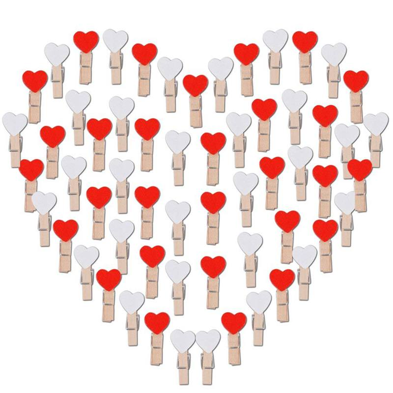 100 PCS Mini Wooden Clasps Heart (White + Red) Clamps Wooden Decoration Small Clothespins Deco Clamps Wooden Clothespins Decor