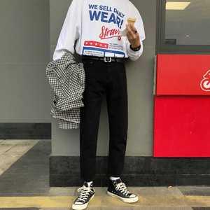 Image 2 - 2020 yaz erkek moda trendi siyah/mavi renk rahat harem pantolon streç Slim Fit Skinny Jeans Biker denim pantolon 27 34