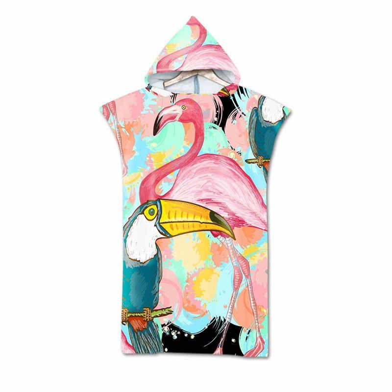 Pink Flamingo Foglie Tropicali Con Cappuccio Asciugamani Da Bagno Mantello In Microfibra per Adulti Delle Donne Accappatoio di Nuoto Asciugamani Da Spiaggia Poncho toalla
