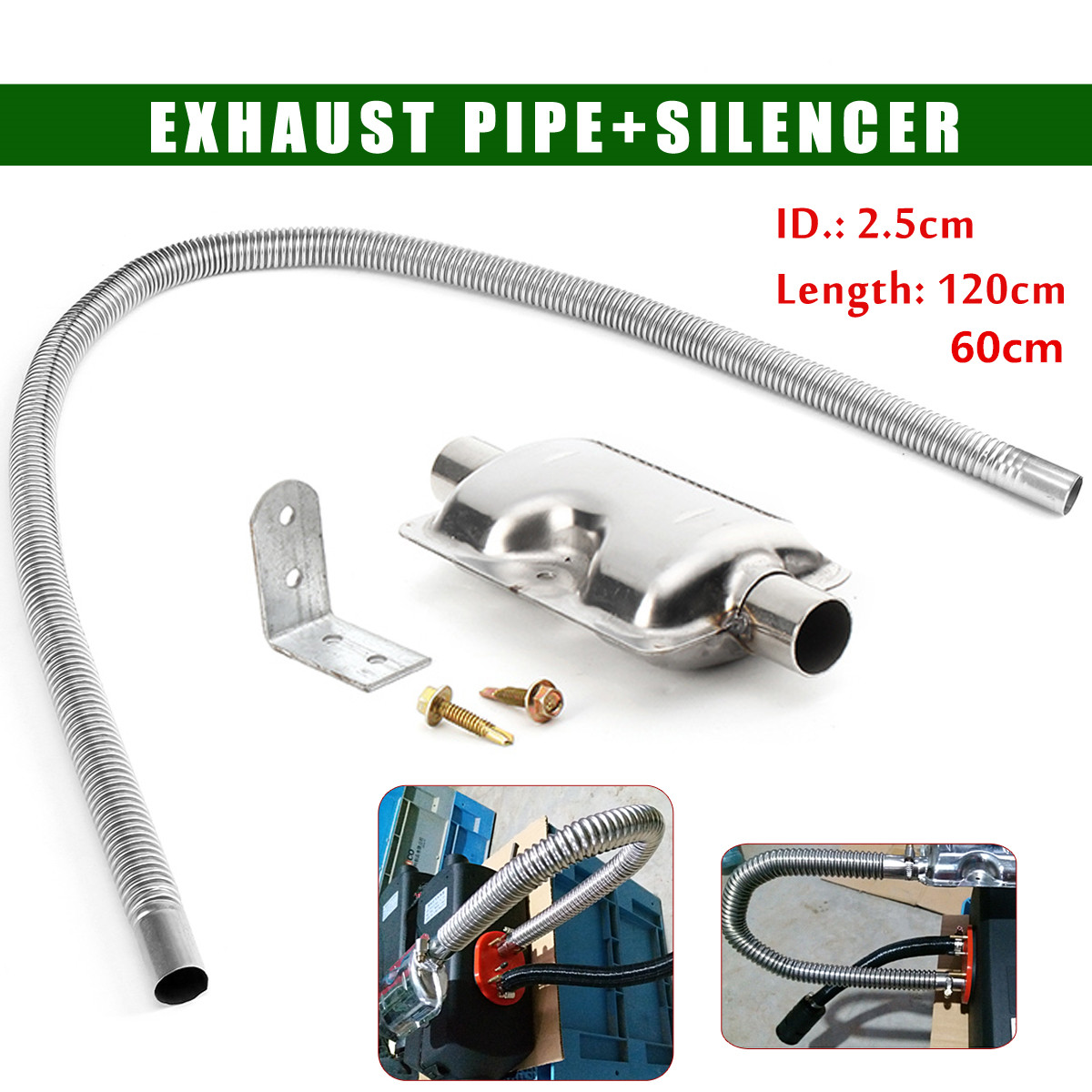 120cm Stainless Steel Exhaust Muffler Silencer Clamps Bracket Gas Vent Hose Portable Pipe Silence For Air Diesels Car Heater Kit image