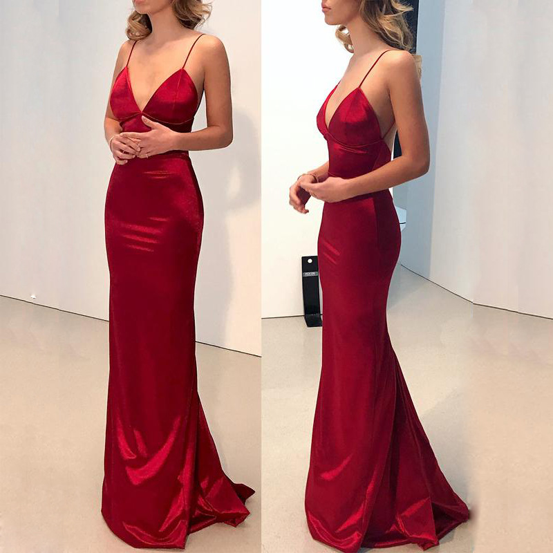 Long Red Deep V <font><b>Dress</b></font> Fashion <font><b>Evening</b></font> <font><b>Party</b></font> Bodycon <font><b>Dress</b></font> <font><b>Sexy</b></font> <font><b>Women</b></font> Sleeveless Slim Backless <font><b>Dresses</b></font> Vestido Summer image