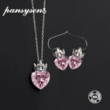 PANSYSEN 100% 925 Sterling Silver Jewelry Sets Heart Pink Quartz Crown Pendant Necklace Earrings Fashion Set For Women