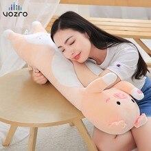 VOZRO Cute Pig Plush Toy Doll Sleeping Long Neck Travel Body Pillow To Send Girl Gift Floor Coussin Enfant Almofadas Overwatch