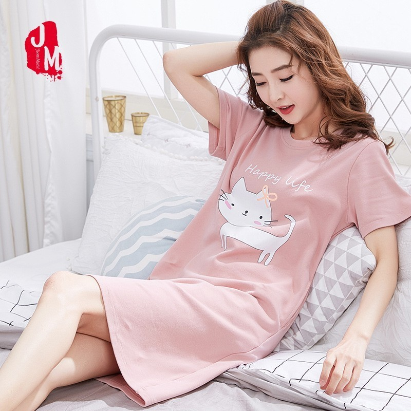 Cartoon Cotton Sleepwear Women Summer Nightgowns Women Cotton O-neck Nightdress Sexy Female Nightwear Plus Size Home Dress Sleep
