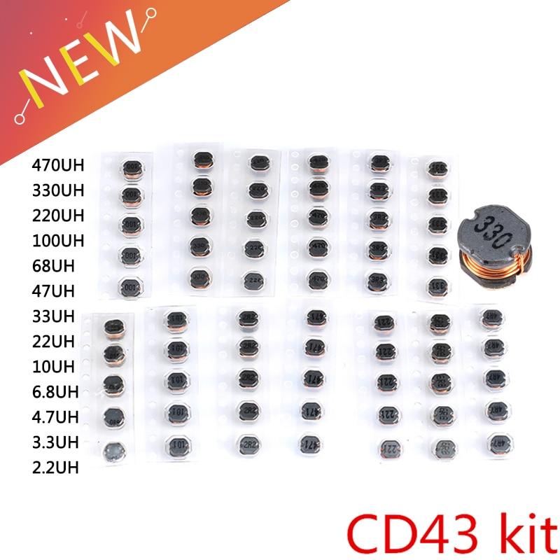 65 шт. 13 значений CD43 SMD силовой индуктор Ассортимент Комплект 2.2UH-470UH чип Индукторы высокое качество CD43 проволочный Чип
