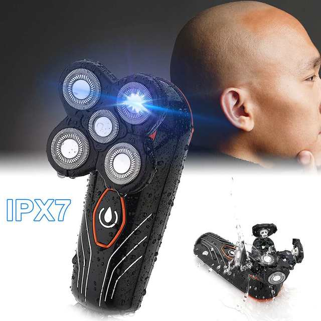 Electric Shaver 5 Heads Floating Blade Razor Men Beard Trimmer Bald Head Shaver Waterproof Washable Rechargeable Hair Clipper