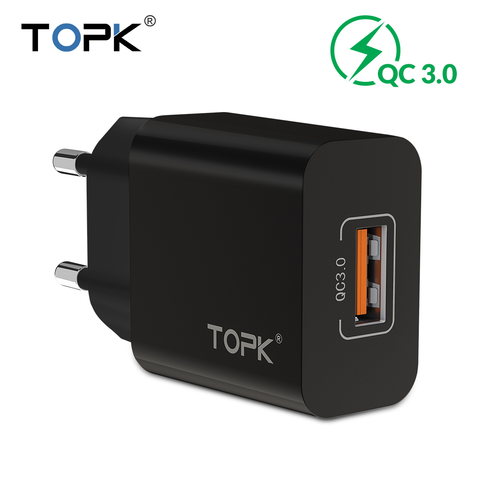 TOPK USB Travel Charger Xiaomi Eu-Plug Huawei iPhone Samsung 18W