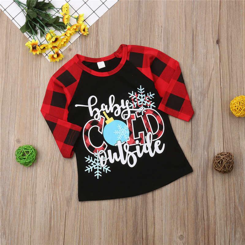 PUDCOCO クリスマスチェック子供の少年少女の子供たちの手紙 Tシャツ長袖 Tシャツチェック柄の綿カジュアル服 1-6Y