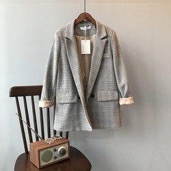 Весенний пиджак Тонкий блейзер Корейский стиль Винтажный костюм в клетку Свободный костюм Harajuku Винтажная куртка Женская верхняя одежда