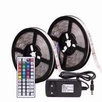 RGB LED bande étanche 2835 5M 10M DC12V Fita lumière LED bande néon LED 12V Flexible bande LED avec contrôleur et adaptateur