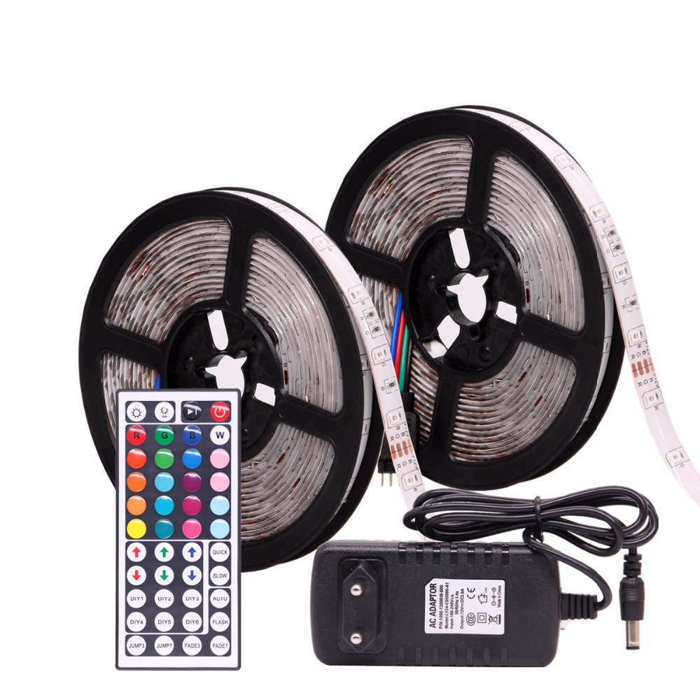 RGB Tira CONDUZIDA Impermeável 2835 M 10 5 M DC12V 12 V Flexível Fita Fita LEVOU Faixa de Luz Neon LEVOU ledstrip Com Controlador e Adaptador