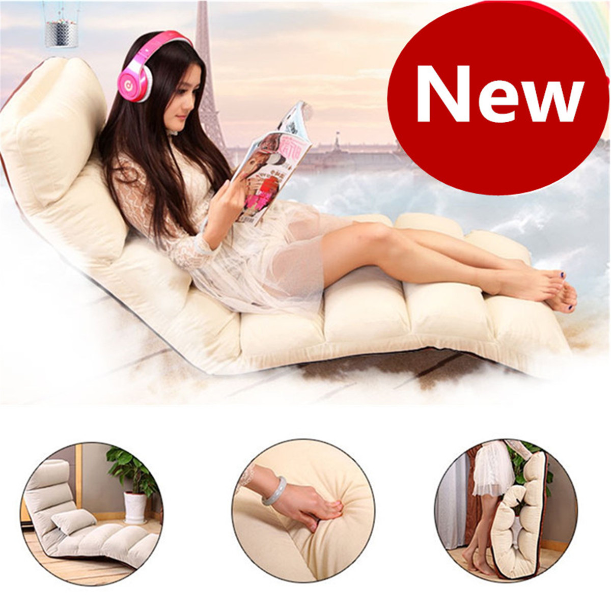 205CM 3 Folding Lazy Sofa Chair Lounger Seat Bean Bag Tatami Portable Stylish Couch Bed Lounge with Pillow Back Support