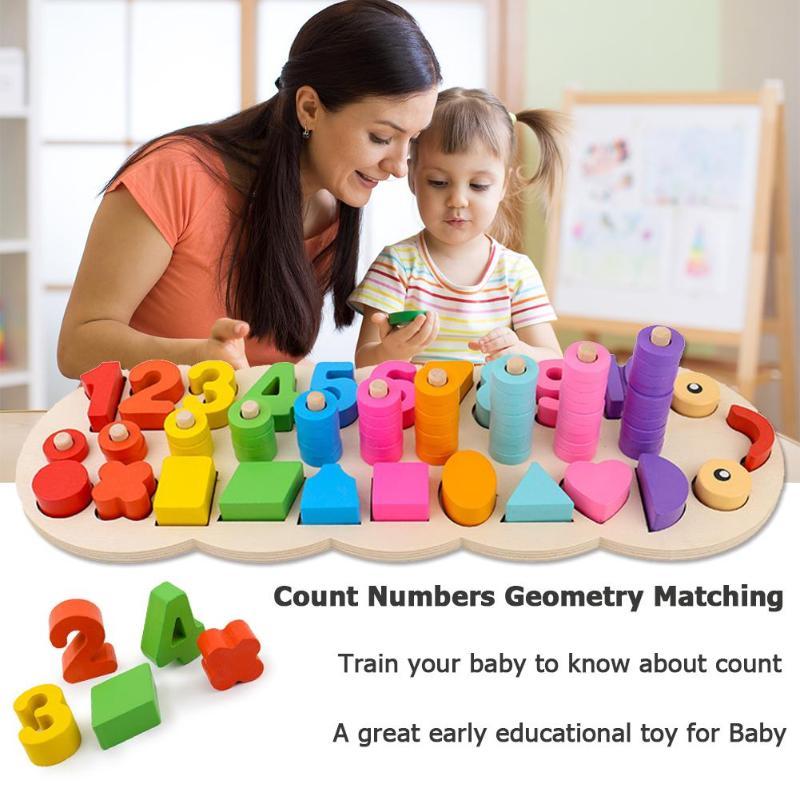 Juguetes de Montessori de madera de preescolar con forma geométrica que combinan con el aprendizaje temprano del bebé