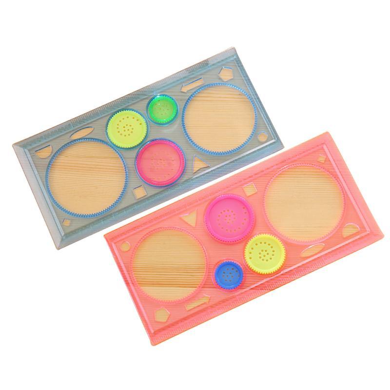 Painting Ruler Four-Color Transparent Million Flower Ruler Drawing Template Ruler Versatile Ruler For Children School Kids