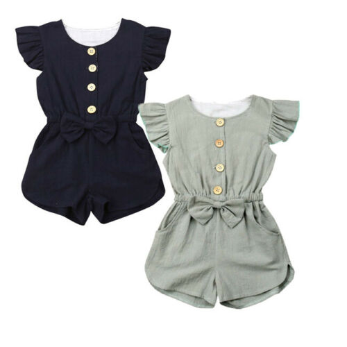 Pudcoco 1-6T Toddler Kids Baby Girls Clothes Ruffle Fly Sleeve Bowknot   Rompers   Solid Button Jumpsuit Summer Kids Outfits
