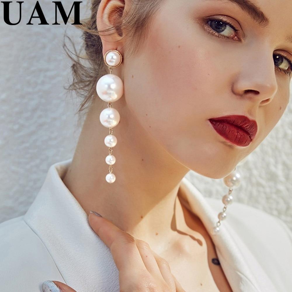 Statement Multiple Pearls Long Dangle Earrings Jewelry Vintage Gorgeous Wedding Chandelier Earrings For Women Best Gifts