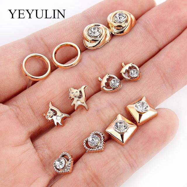 36Pairs/18pairs Earrings Mixed Styles Rhinestone Sun Flower Geometric Animal Plastic Stud Earrings Set For Women Girls Jewelry 2