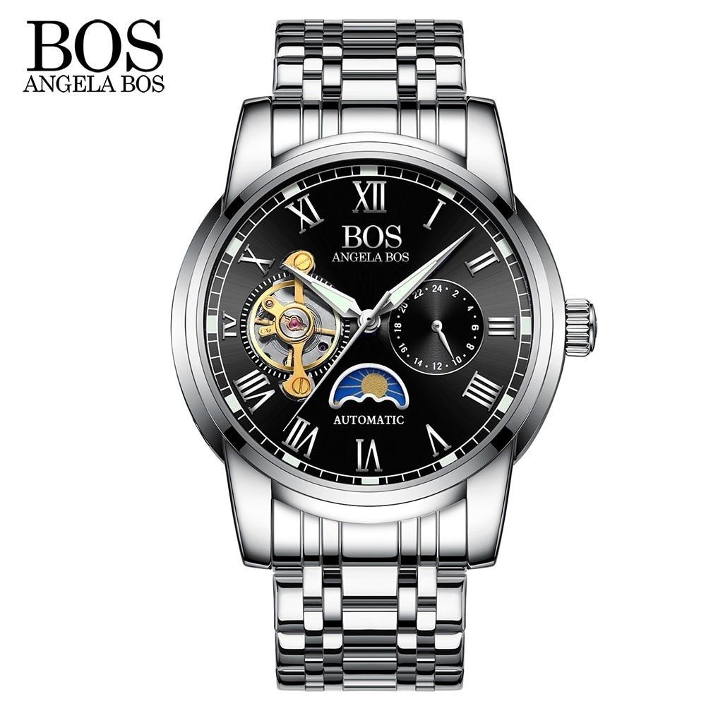ANGELA BOS Czarny Mechaniczny Automatyczny Zegarek Mężczyźni Faza - Męskie zegarki - Zdjęcie 3