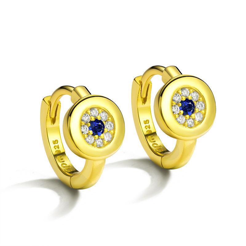 Hoop Earrings Selfless 2018 New Jewelry Gold Color Blue Clear Evil Eye Charm Classic Delicate Earring For Women Zk40 Selected Material