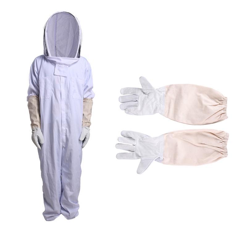 Vêtements en coton apicole complet voile capuche gants chapeau Jaket protecteur insecte alimentation costume apiculteurs abeille équipement gants