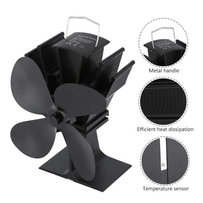 Черный 4 лезвия камина Тепловая плита вентилятор комин кастаньеты горелки Экологичные тихий вентилятор домашнего эффективного распределения тепла