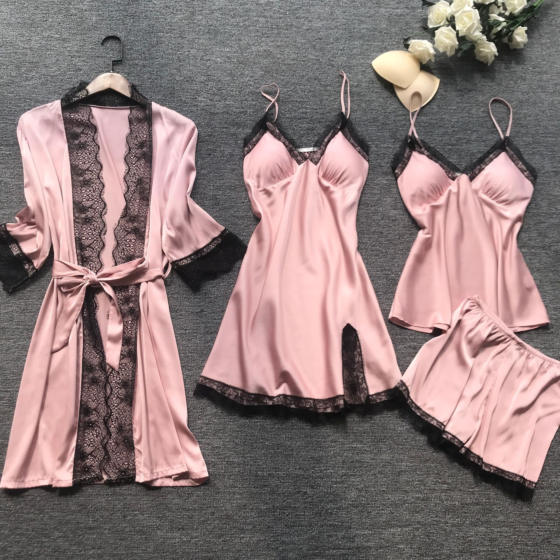 Summr New Satin Black Lace Fashion Women Sleepwear With Chest Pad Nightdress Shorst Cardigan Set Pajamas