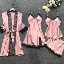Summr New Satin Black Lace Fashion Women Sleepwear With Chest Pad Nightdress Shorst Cardigan Set Pajamas