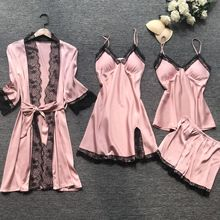 Summr New Stain Black Lace Fashion Women Sleepwear With Chest Pad Nightdress Shorst Cardigan Set Pajamas