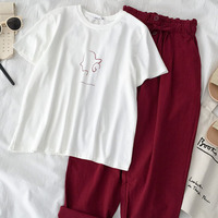 High Street Fashion Two Piece Set Summer Women Outfits Casual White T shirt +red Long Pant Set Suit Summer Set