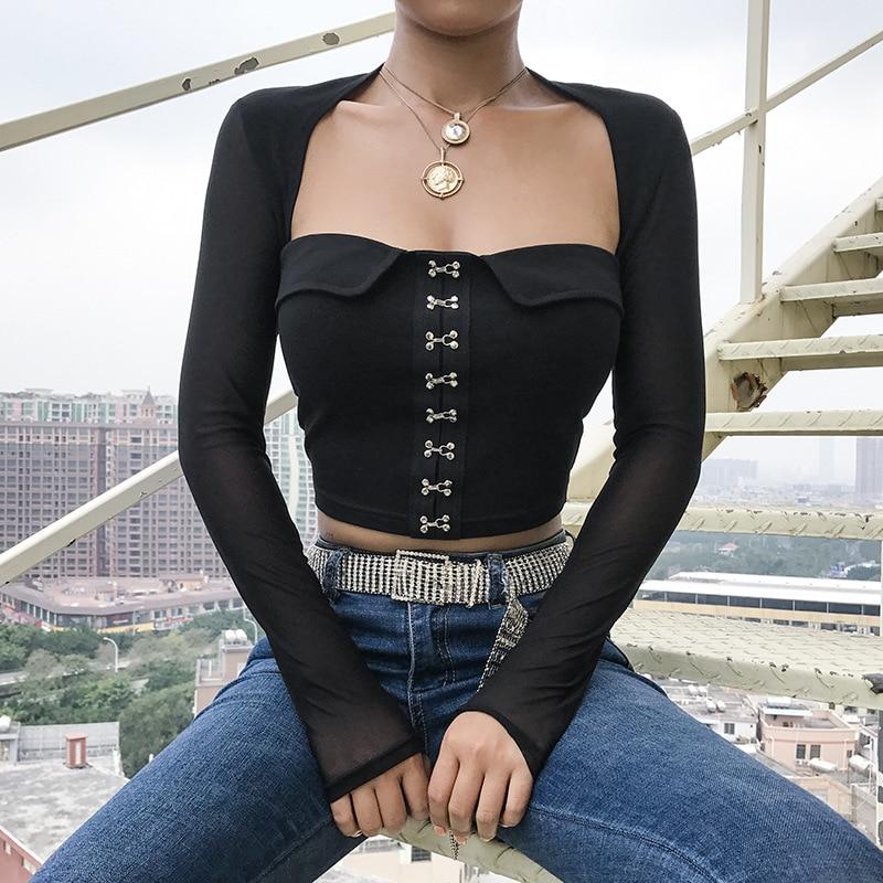 Elegant Short Women T Shirt Black Sexy Metal Buckle font b Slim b font Mesh Patchwork