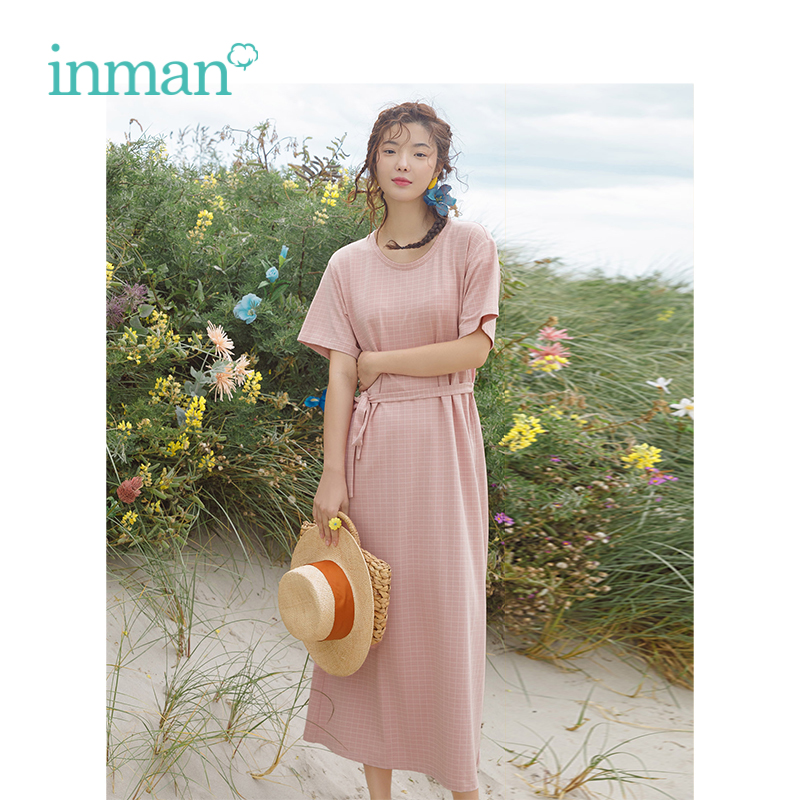 INMAN Summer O-neck Literary Plaid Casual With Belt Slim Women Straight Dresses