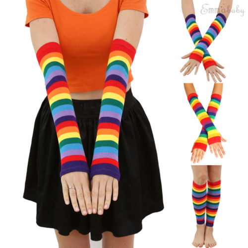Fashion Women's Sunscreen Rainbow Socks Gloves Thigh Striped Slim Leg Stockings