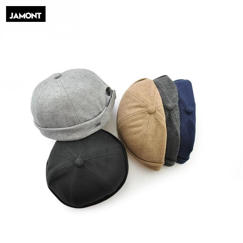 Novelty Fold Skullcap Retro Sailor Cap, Men Women Warm Rolled Cuff Bucket Cap Brimless Hat Adjustable Hook & Loop Bonnet