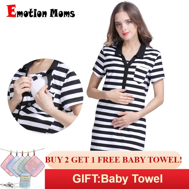 590324bd131 Emotion Moms Summer Maternity dress pregnancy clothes Striped Breastfeeding  Dresses for Pregnant Women Skirt nursing dress