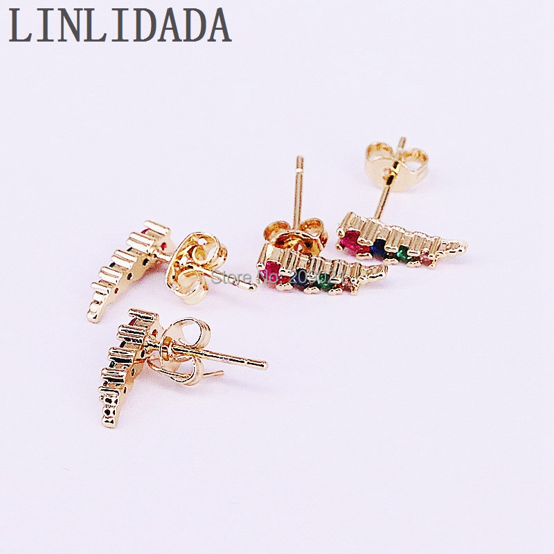 10Pair Gold Color High Quality Rainbow Micro Pave CZ Zirconia Fashion Girl Women earring studs Wholesale