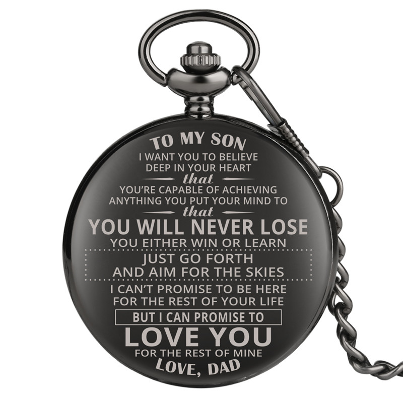 To My Son Series Quartz Pocket Watch Retro For Women Men Special Classic Pocket Watches Durable Alloy Gift For Pocket Watch
