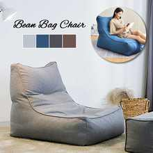 Lazy Cotton Linen Bean Bag Chair Sofa Cover No Filling in Solid Colors Lounger Seat Pouf Puff Couch for Home Office Game Party(China)
