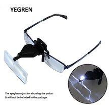 Loupe de lunettes à pince 1.5X 2.5X 3.5X avec lampe LED mains libres, Loupe de broderie pour dessin plante de visualisation