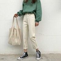 2019 Spring High Waist Boyfriend Jeans Woman Ankle Length Straight Casual Denim Pants