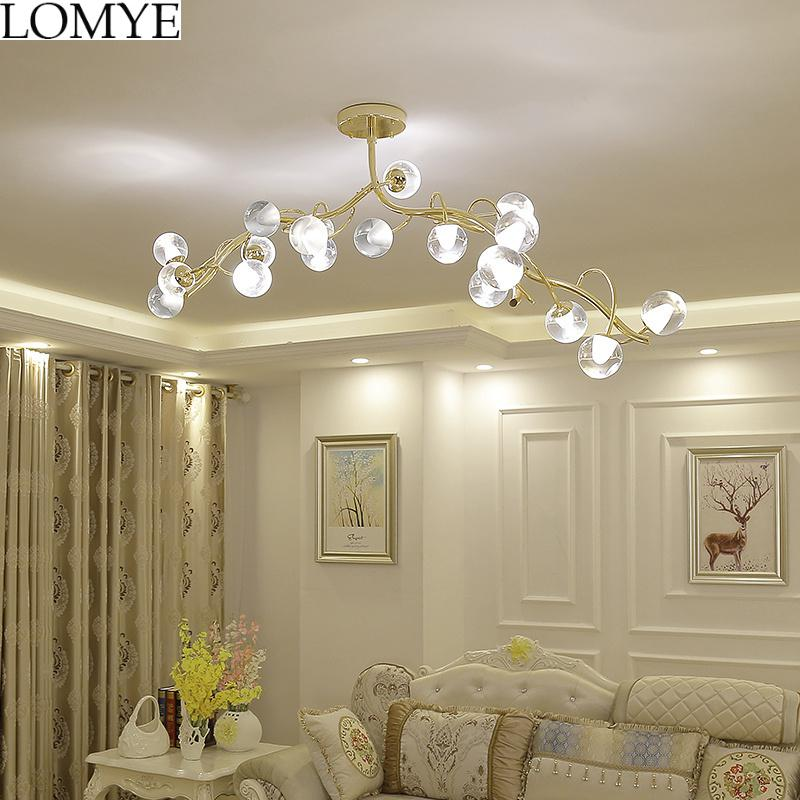 Post Modern Lustre Gold Led Chandeliers Lighting Glass Dining Room Led Pendant Chandelier Lights Bedroom Hanging Light Fixtures