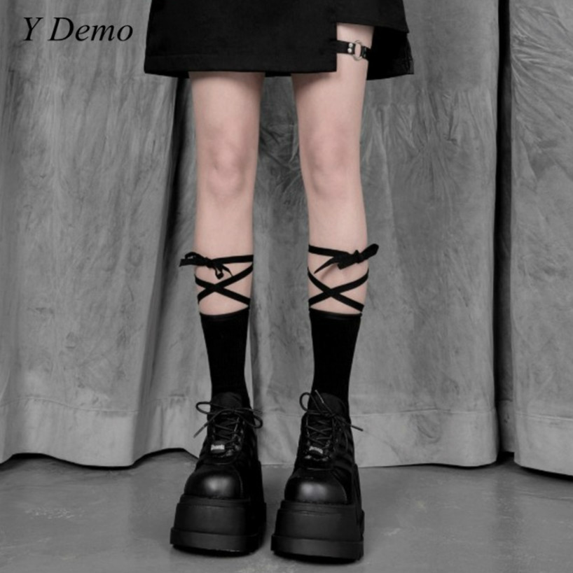Solid Color Lace Up Letters Printing Casual Socks For Women