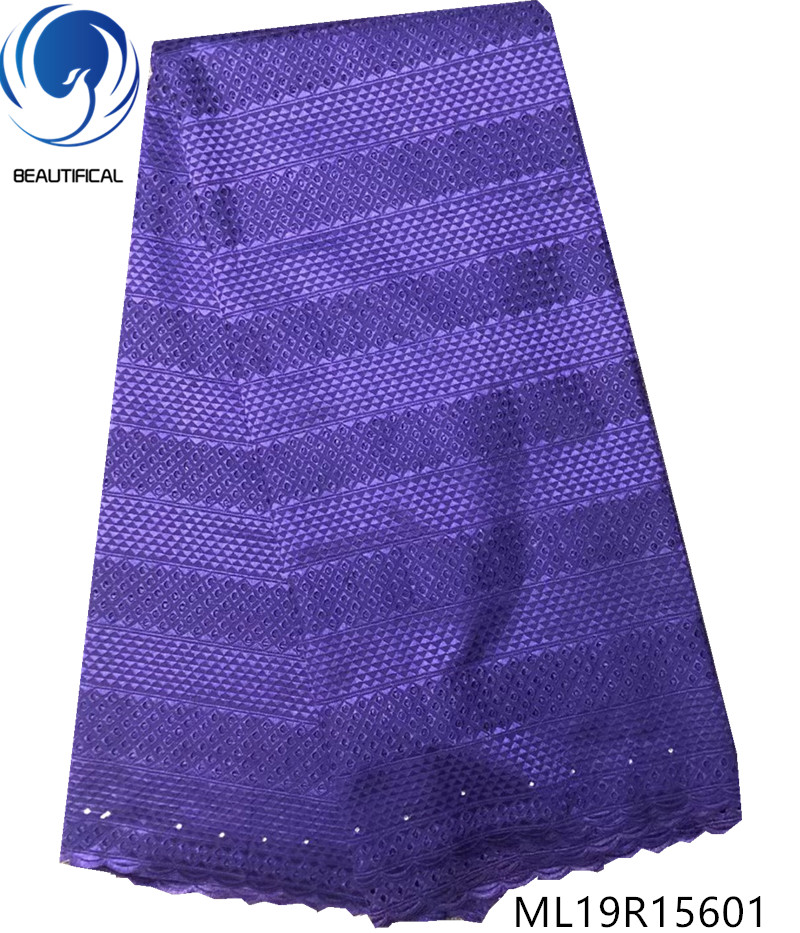 Belle dentelle de coton africain de haute qualité lacets de voile de coton suisse suisse dentelle tissu livraison gratuite ML19R156