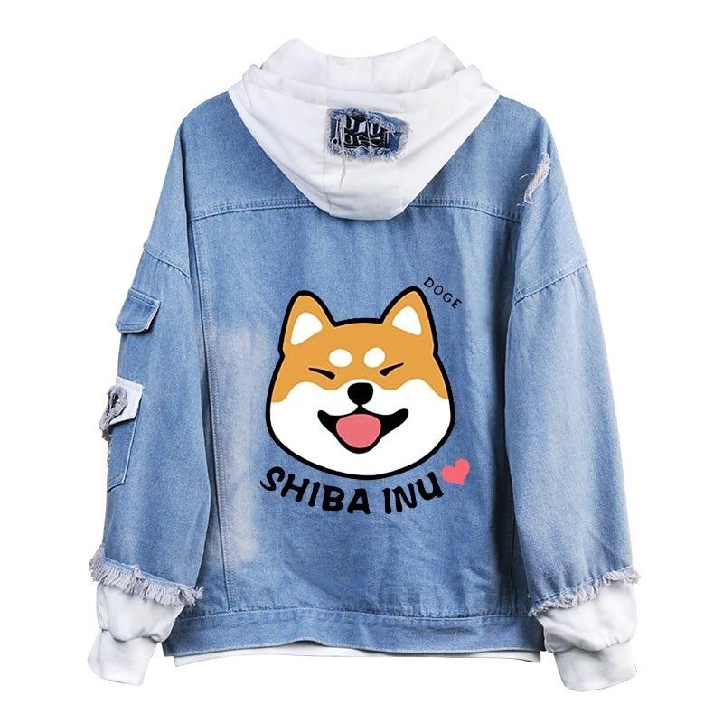 Shiba Inu Kawaii Lovely Velvet Long-sleeved Hooded Plush Coat Spring Autumn Doge Cartoon Anime Style Warm Denim Sweatshirt A9020
