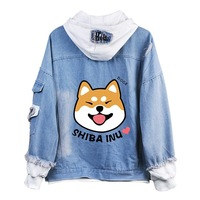 Shiba Inu Kawaii lovely Velvet Long sleeved Hooded Plush Coat spring autumn Doge Cartoon Anime Style Warm denim Sweatshirt A9020