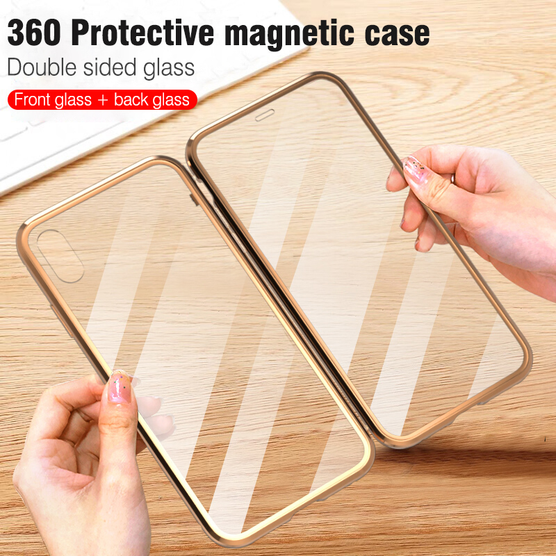 Image 2 - For iphone 8 7 plus iphone X XS Max XR phone case 360 cover coque Luxury Double sided front+back clear glass metal Magnetic case-in Fitted Cases from Cellphones & Telecommunications